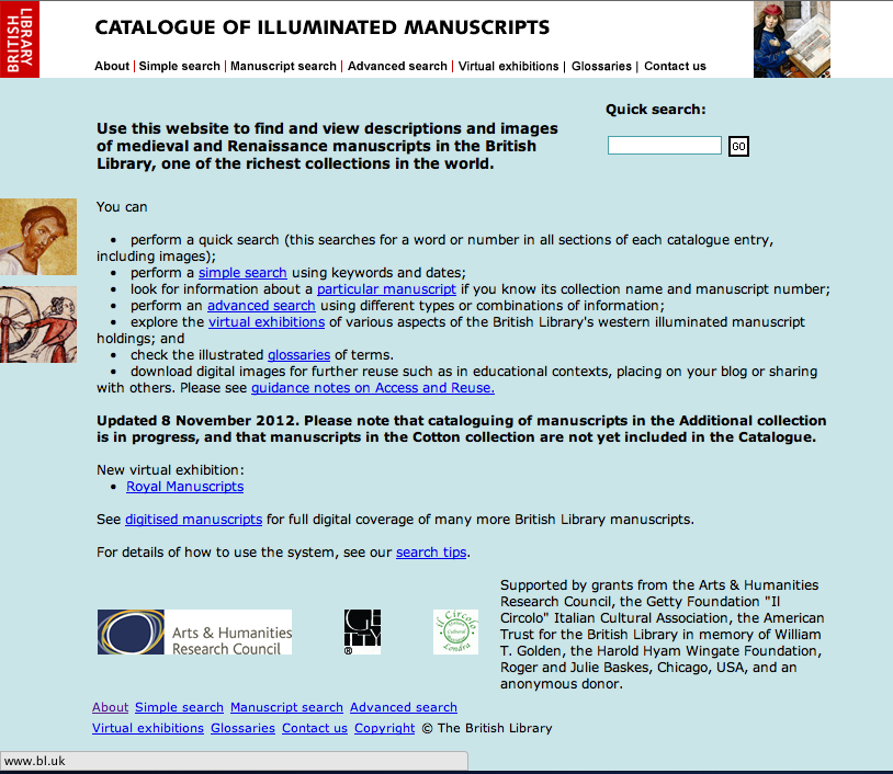British Library Catalogue of Illuminated Manuscripts