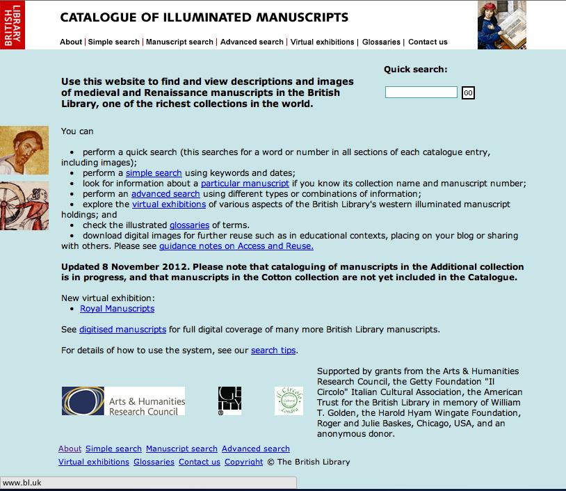 British Library Catalogue of Illuminated Manuscripts