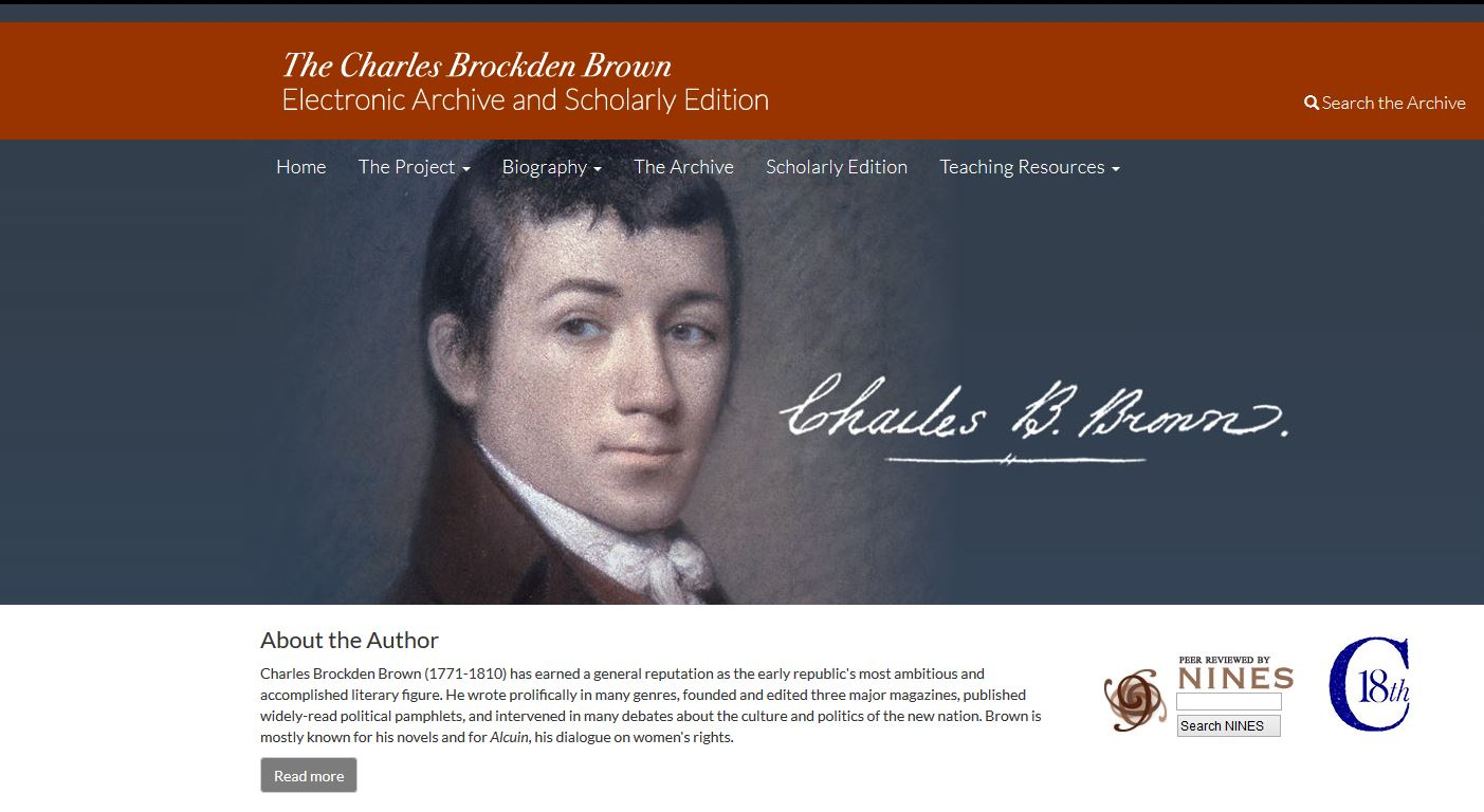 The Charles Brockden Brown Electronic Archive and Scholarly Edition